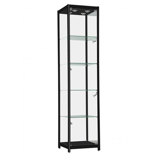 Black Aluminum Glass Tower Display Case