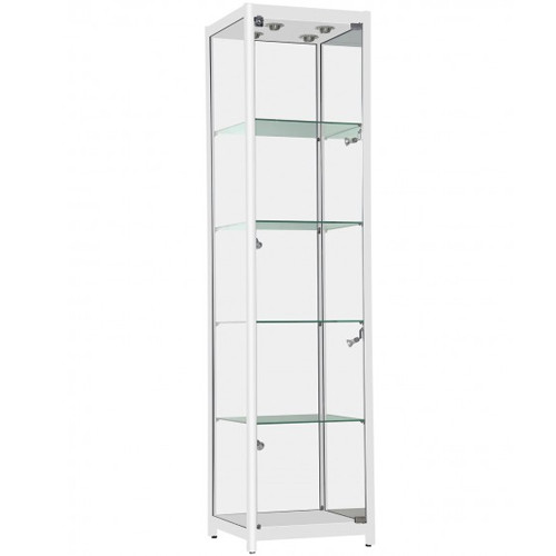 White Aluminum Glass Tower Display Case