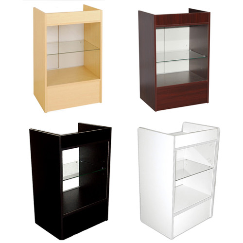 Register Stand With Glass Shelf