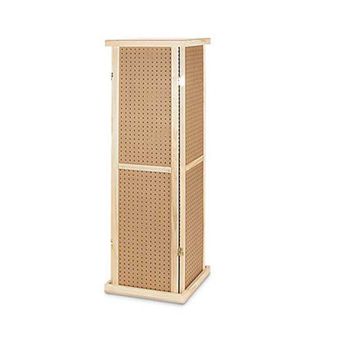"Wooden 4 Sided Rotating Pegboard Tower, 60"" H"