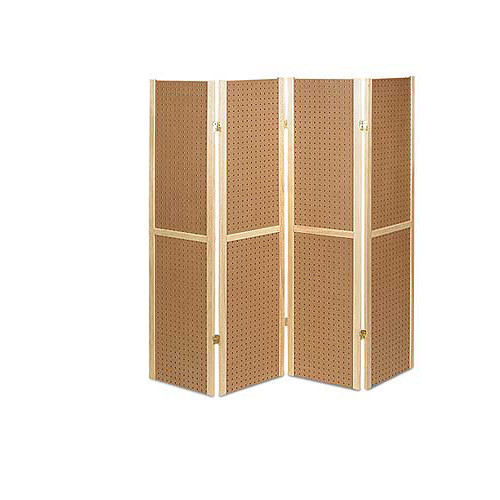 "Wooden 4 Panel Foldable Pegboard Display, 60"" H"