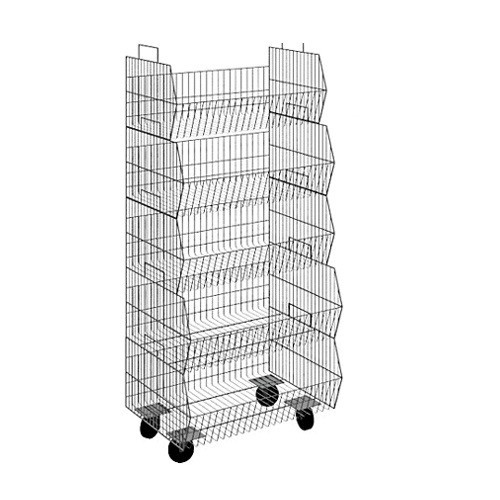 Mobile 5 Tier Wire Basket Display, Chrome