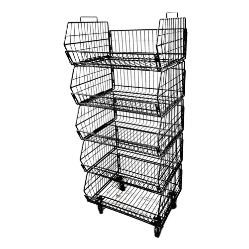 Mobile 5 Tier Wire Basket Display, Black or Chrome