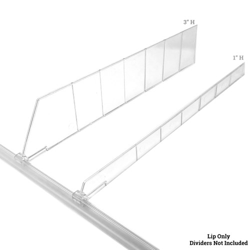 Universal Shelf Lip for Adjustable Shelf Dividers