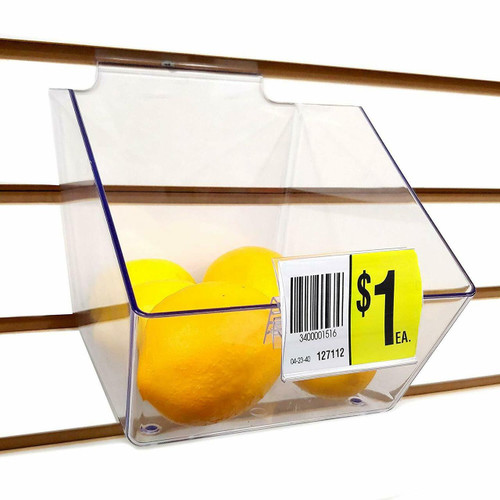 """Acrylic Bin Label Holder w/ 2"""" x 1.5"""" Sign Card Ticket Protecting Slot"""