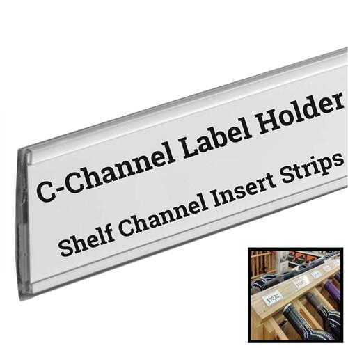 "Stick on C Channel Insert Strip, 48"" L Adhesive Shelf UPC Label Holder"