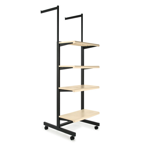2-Way Rolling Merchandise Rack with 4 Almond Bullnose Shelves