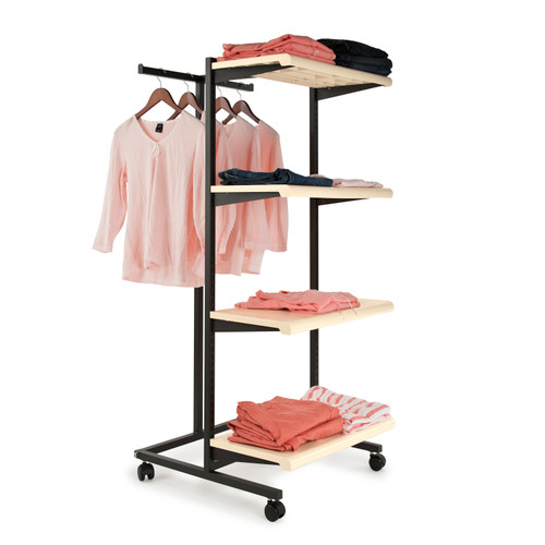 T-Stand Rolling Merchandise Rack with 4 Almond Bullnose Shelves