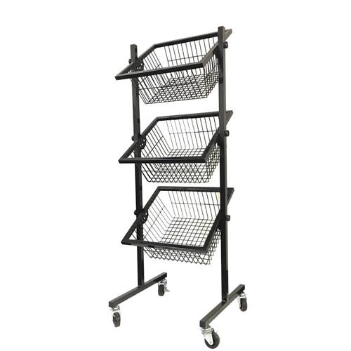 3 Tier Square Wire Basket Dump Bin On Wheels