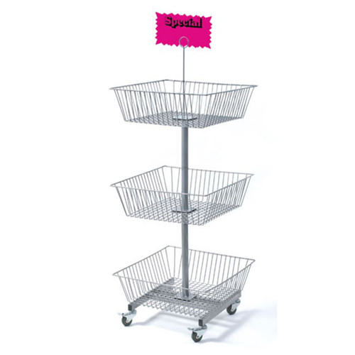"3 Tier Wire Square Baskets on Wheels, 50"" H"