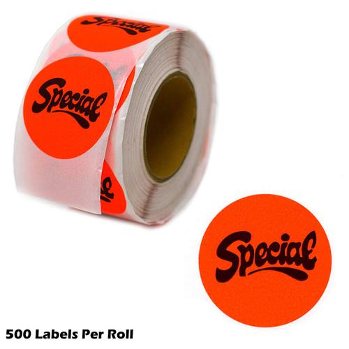 "Special Fluorescent Orange Self Adhesive Label, 1.5"" Diameter Circle Sale Stickers"