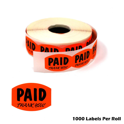 """Paid Thank You Fluorescent Orange Self Adhesive Label, Sold Retail Stickers.85"""" H x 1.2"""" W"""