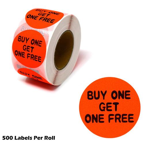 "Buy One Get One FREE Fluorescent Orange Self Adhesive Label, 1.5"" Diameter Circle BOGO Sale Stickers"