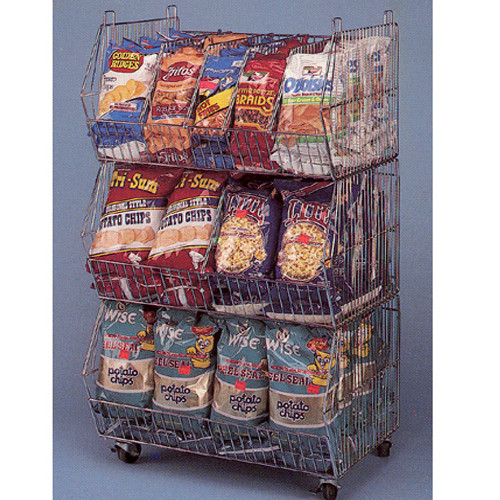Mobile 3 Tier Wire Basket Display, Chrome
