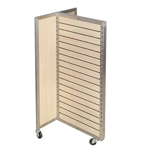 Sleek Maple Slatwall 3 Way Merchandiser