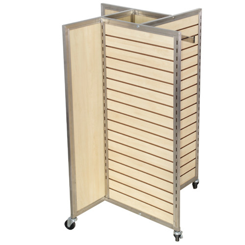 Sleek Maple Slatwall 4 Way Merchandiser