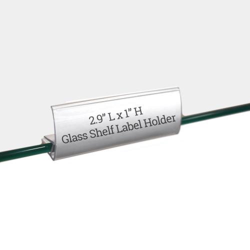 "Glass Shelf Label Holder, 2.9"" L x 1"" H"
