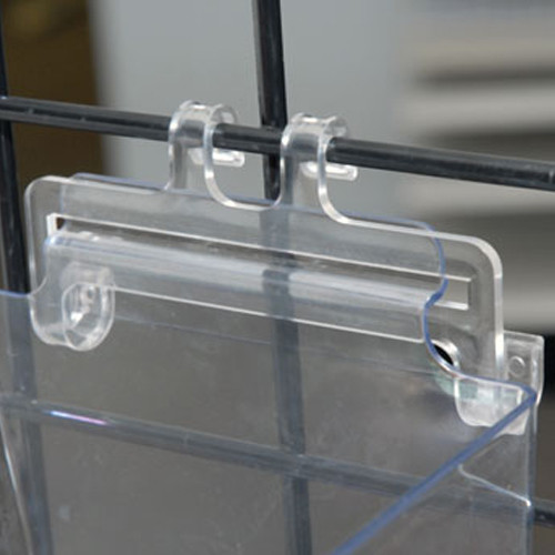 Slatwall to Gridwall Clear Acrylic Bin Adapters For Items with Slatwall Backings