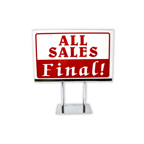 All Sales Final Sign, Red & White No Refunds Policy Sign With Acrylic Frame Sign Holder