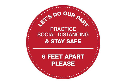 "Social Distancing Floor Circle Sticker, 12"" - Keep 6 Feet Apart"