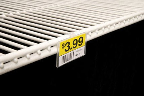 Clip on these onto your double wire shelves to feature and protect product information.