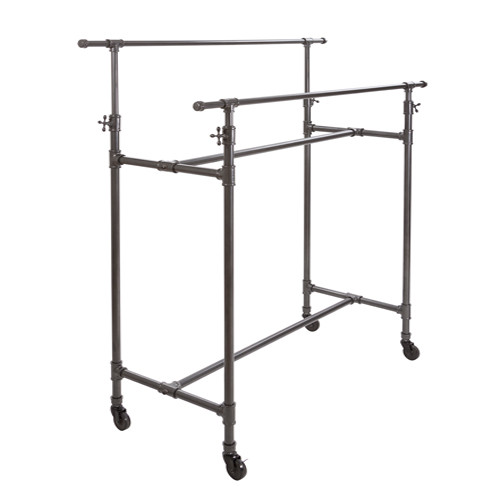 Grey Pipeline Adjustable Double Bar Rack System
