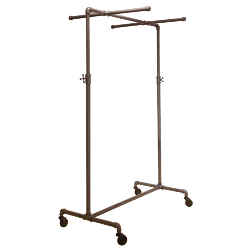 Grey Pipeline Ballet Bar with Two Cross Bars, Adjustable Height