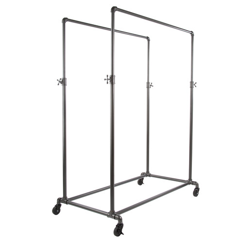 Grey Pipeline Double Bar Rack System, Adjustable