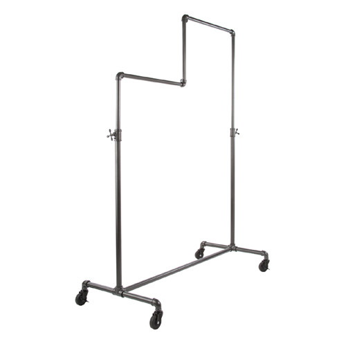 Grey Pipeline Double Tier Ballet Bar Rolling Rack, Adjustable