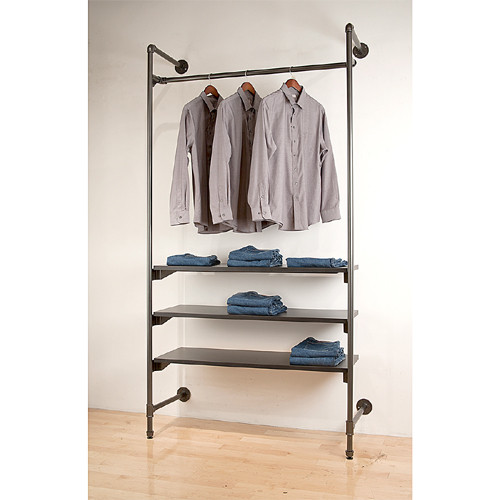 Grey Pipeline Outrigger Metal Rack System with Hangrail and Shelves, sold separately.