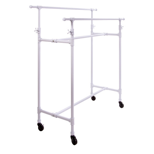 White Pipeline Double Bar Adjustable Metal Rolling Rack