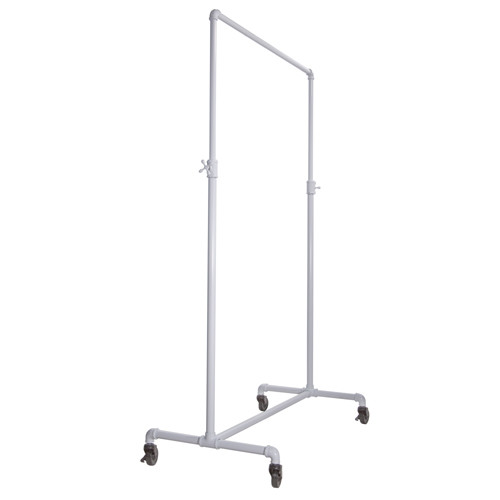 White Pipeline Single Tier Ballet Bar Rack System,  Adjustable