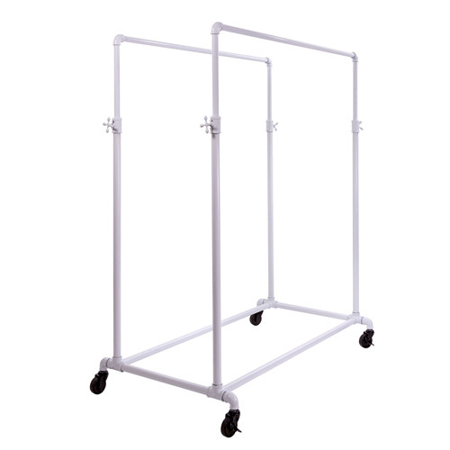 White Pipeline Double Bar Rack System, Adjustable