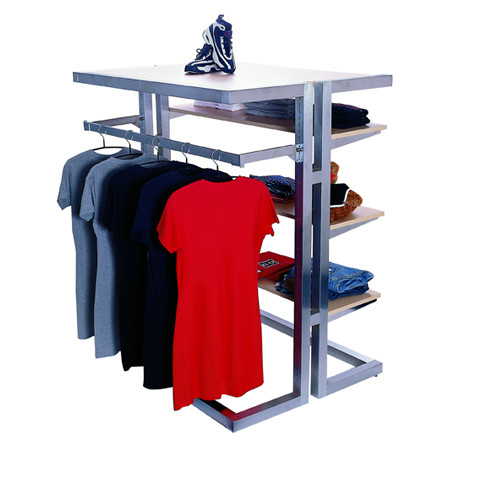 Alta Multi Island Merchandiser Display System with Optional Top, Hang rail and shelves.