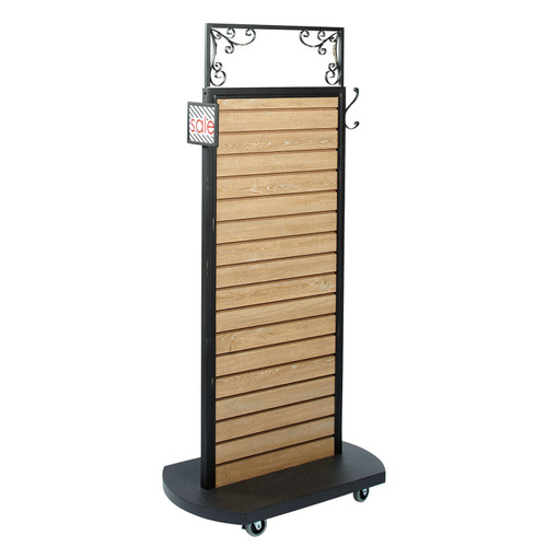 Slatwall Rolling Display - Oak