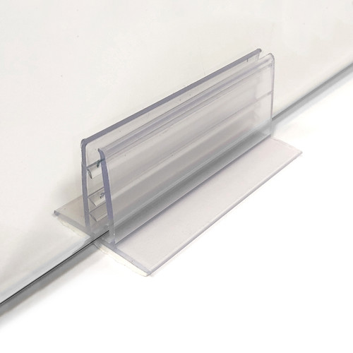 "Extra Tall Adhesive Plexiglass Sneeze Guard Holder™, 1.25"" H x 3"" L"