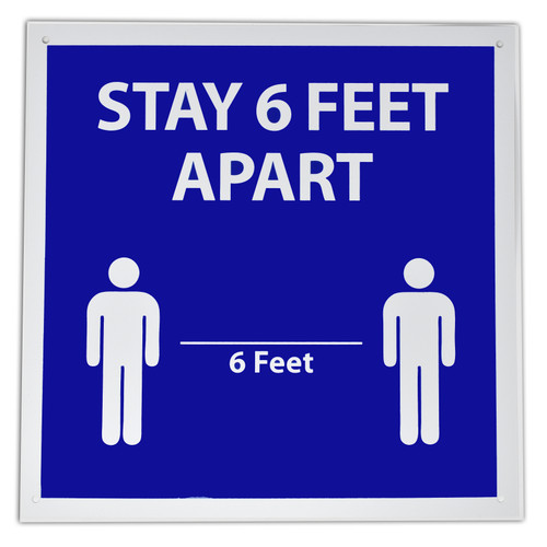 "Stay 6 Feet Apart Retail Sign W/Suction Cups 12"" Square Shaped Social Distancing"