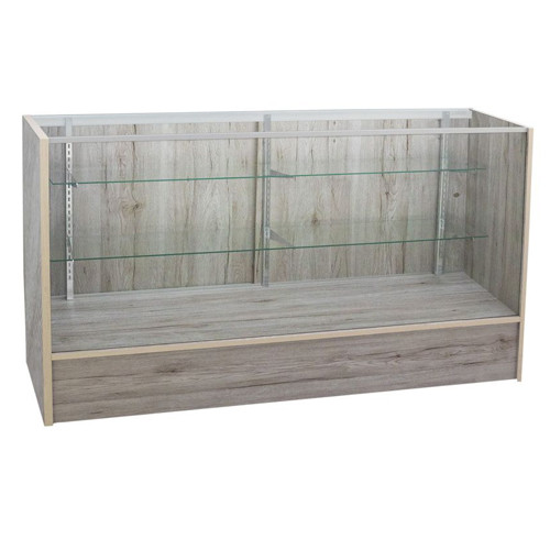 Economy Full Vision Glass Showcase - Grey Barnwood Series