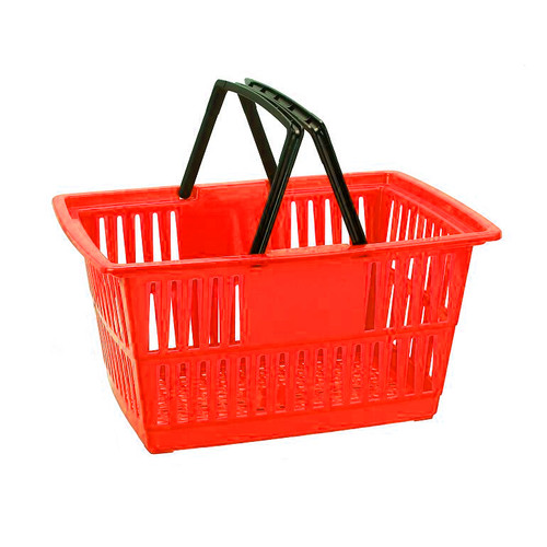 "Store Shopping Baskets, Plastic Totes for Grocery, Convenience and Retail, Medium Size, 18"" L x 13"" W x 9"" H"