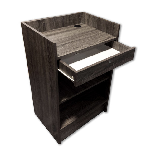 "Economy Register Checkout Counter 24"" L - Dark Gray Woodgrain Series"