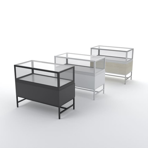 Deluxe Half Vision Showcase with Storage Drawers