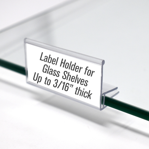 Glass Shelf Clip On Label Holder, 50 Pack