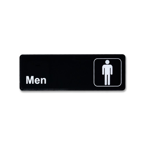 "3"" H x 9"" W Men's Restroom Sign - Black"