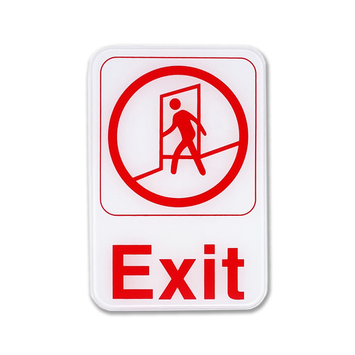 "6"" W x 9"" H W EXIT Business Sign - White"