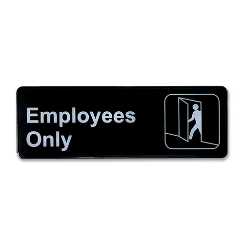 """3"""" H x 9"""" W Employees Only Sign - Black"""