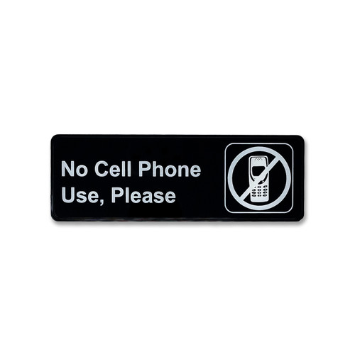 """3"""" H x 9"""" W No Cell Phone Use Policy Sign - Black"""