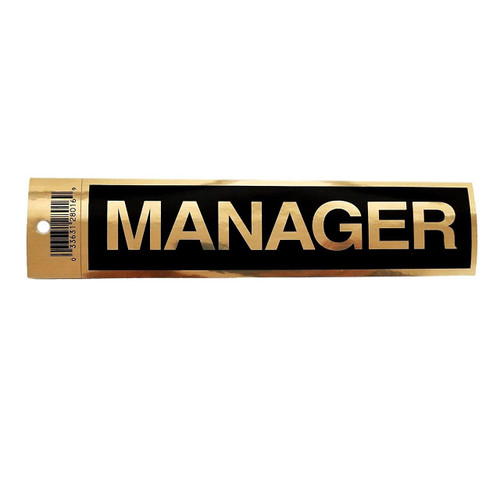 """2"""" X 9"""" Black Self Adhesive """"MANAGER"""" Sign"""