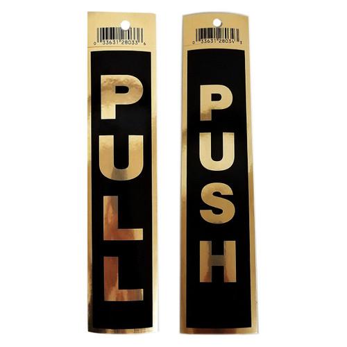 """2"""" X 9"""" Black Self Adhesive PUSH & PULL Door Sign Bundle"""