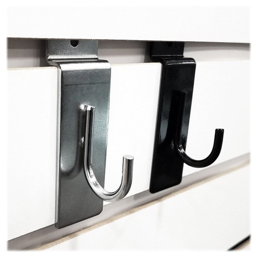 Slatwall J-Hook - Chrome or Black