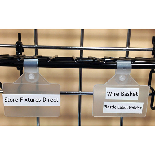"Clip On Sign Holder for Wire Racks & Baskets - 2"" x 1.25"" - 50 Pack"